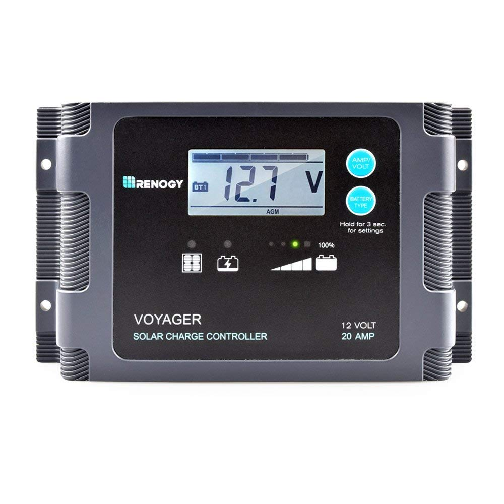 Renogy Voyager – 20A Negative-Ground PWM Controller Waterproof Solar Charge Controller w LCD Display and LED Bar