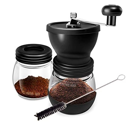 Manual Coffee Grinder Set With Two Glass Jar And Soft Brush For Beans,  Stainless Steel Built To Last,Easy Cleaning, Convenient for Using,Quiet and
