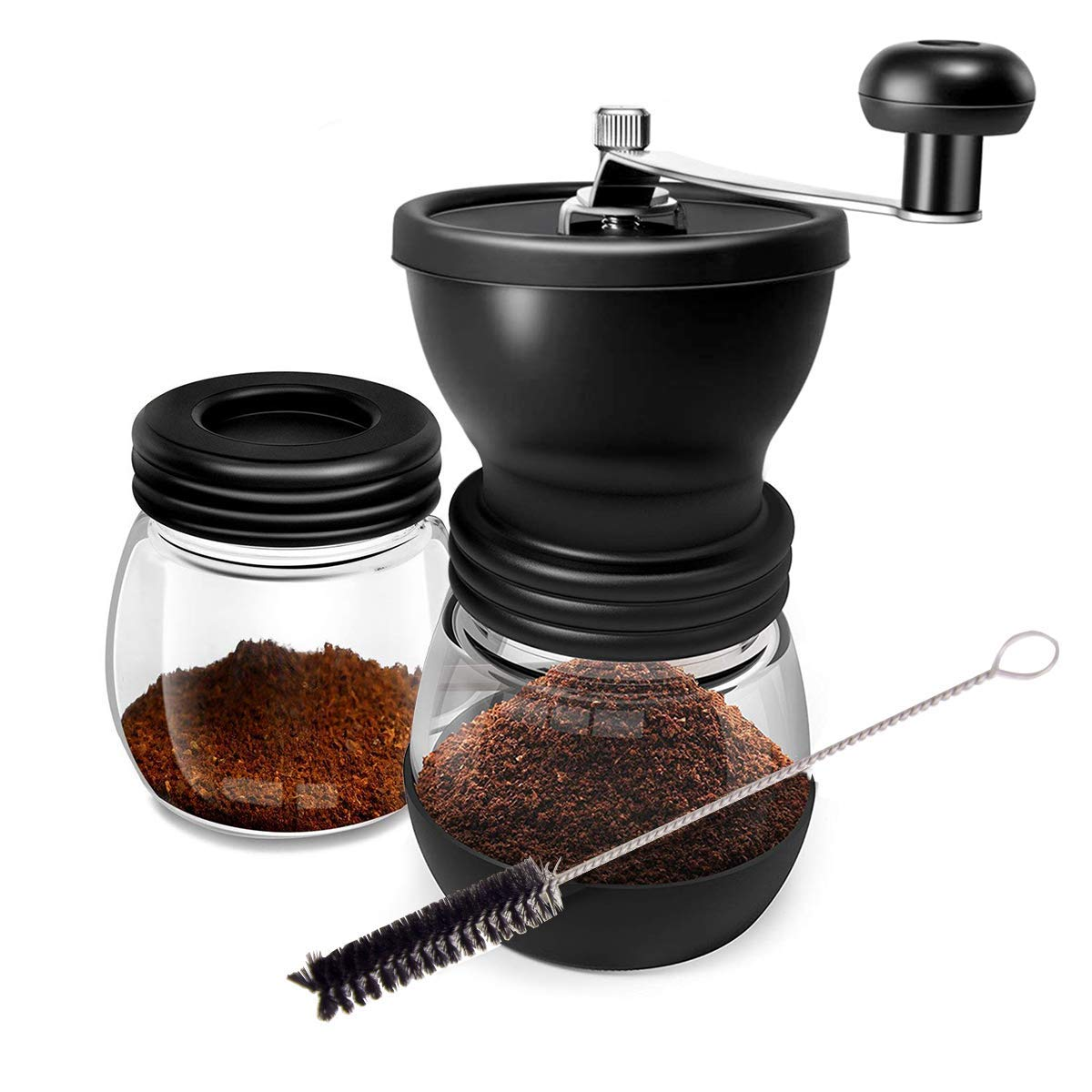 Manual Coffee Grinder Set With Two Glass Jar And Soft Brush For Beans, Stainless Steel Built To Last,Easy Cleaning, Convenient for Using,Quiet and Portable