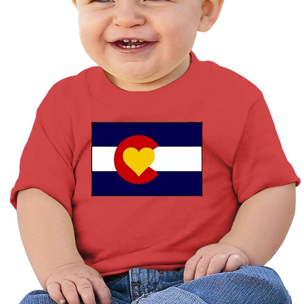 Chengrangst Love Heart Colorado Flag Toddler/Infant Short Sleeve Cotton T Shirts Pink