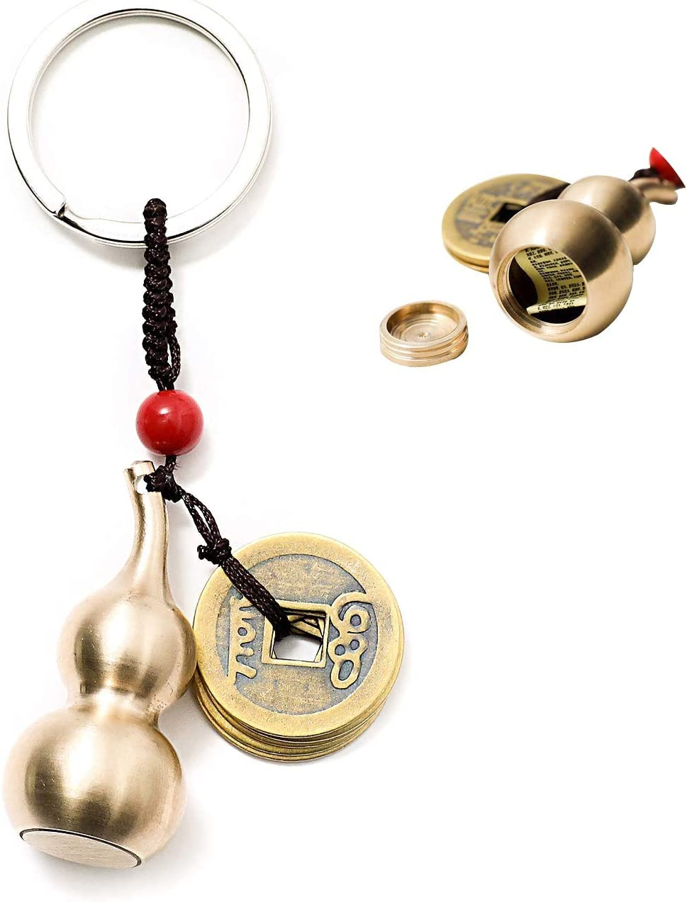 GJMY Feng Shui Coins with Brass Calabash Wu Lou Key Chain for Longevity Travel Safely Wealth Porsperity Success and Good Luck with Blessing Paper in it
