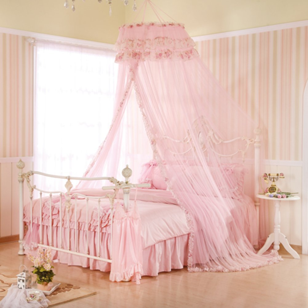 Bed canopy mosquito net for crib,Twin,Full,Queen or king size bed and travel camping events-pink 135x200cm(53x79inch)