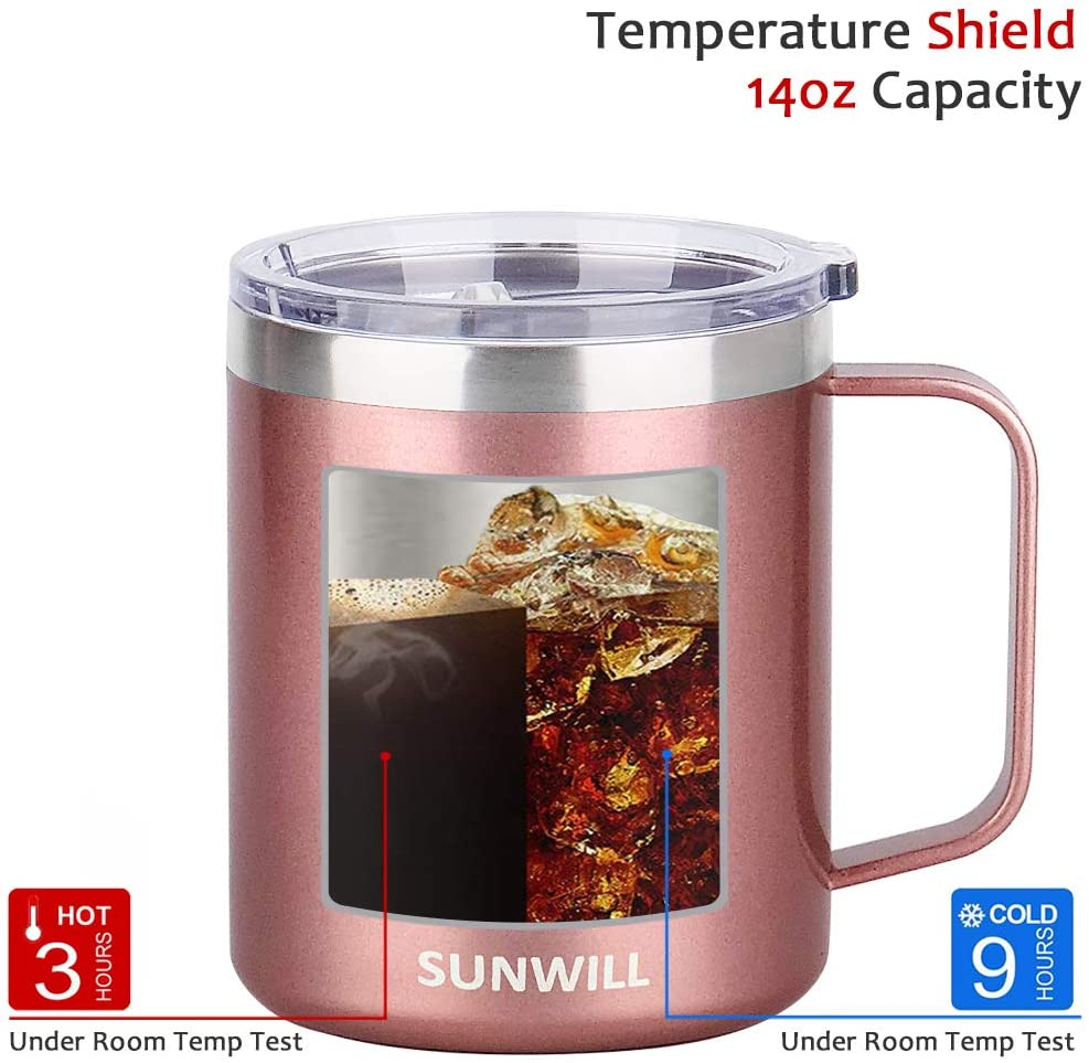 Cool Grey SUNWILL Coffee Mug with Handle 14oz Insulated Stainless Steel Coffee Travel Mug Double Wall Vacuum Reusable Coffee Cup with Lid