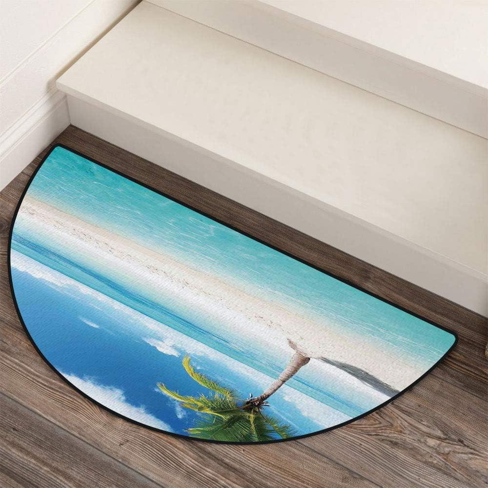 36 x 72 Half Round Door Mat,Scenery Shore Picture Sunlights View Palm Tree Outdoor//Indoor Entry Rug,for Home Kitchen Office Standing Desk Mats,