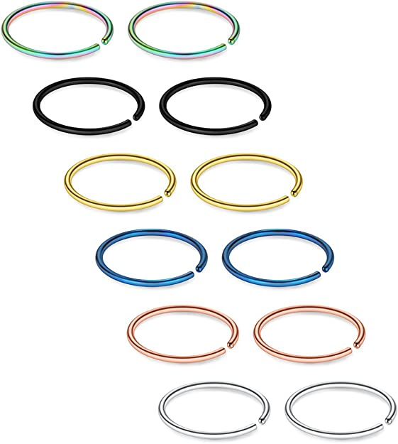 22G Surgical Stainless Steel Non Pierced Clip on Closure Round Ring Fake Nose Lip Helix Cartilage Tragus Ear Hoop Piercing Body Jewelry 10mm