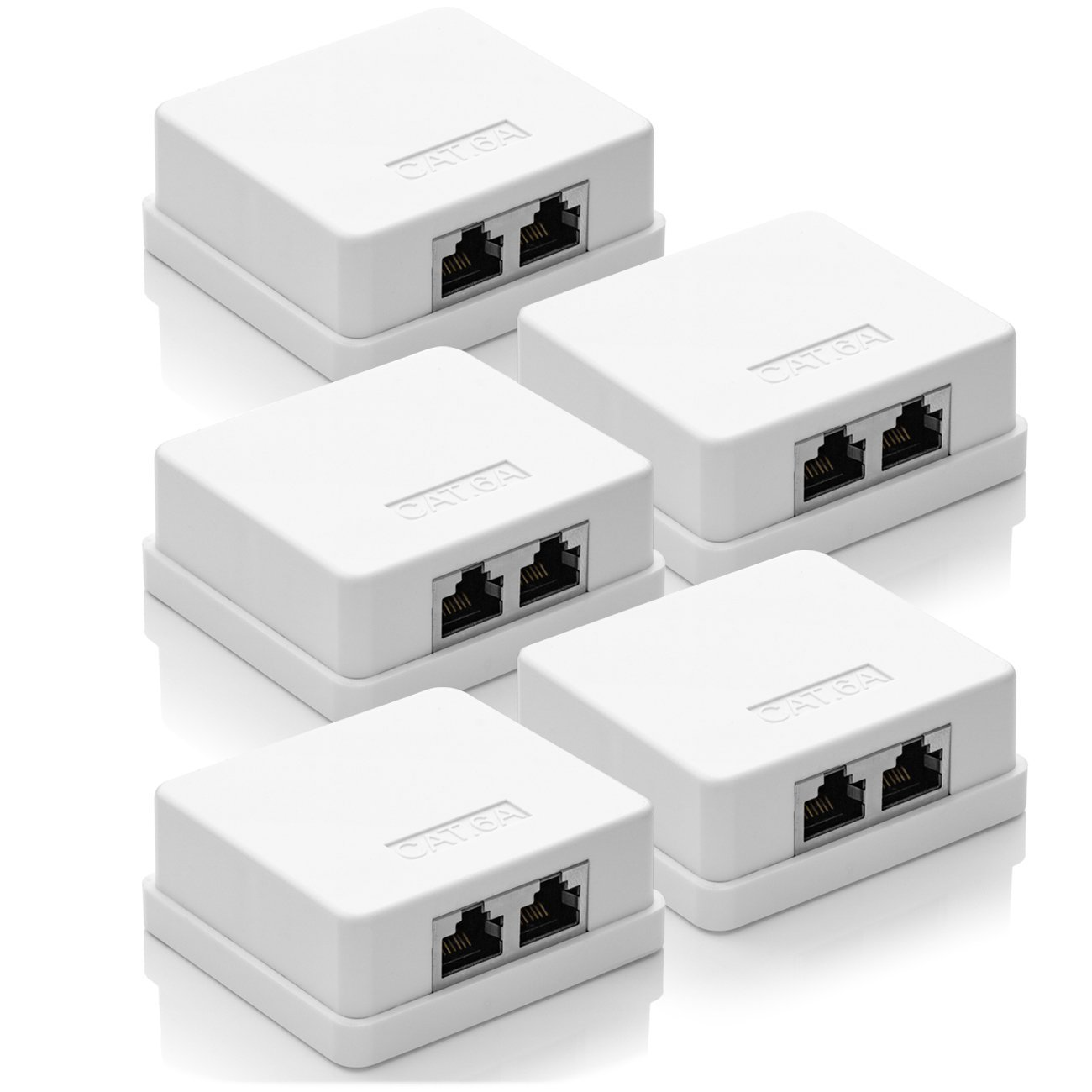 White deleyCON 2x CAT 6a Network Socket 2x RJ45 Socket FTP Shielded Surface-Mounted 10Gbit Ethernet LAN Patch Cable