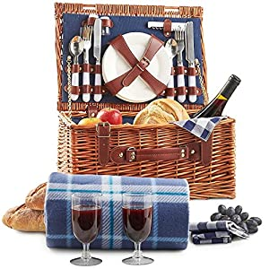 VonShef Deluxe 2 Person Wicker Picnic Basket Hamper with Cutlery, Plates, Glasses, Tableware & Fleece Picnic Blanket
