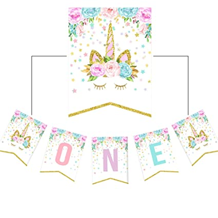 Amazon Little Girls 1st Birthday Party Rainbow Unicorn High