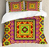 Aztec Queen Size Duvet Cover Set by Lunarable, Mexican Ornament with Colorful Squares Indigenous Tribal Framework Antique Artistic, Decorative 3 Piece Bedding Set with 2 Pillow Shams, Multicolor