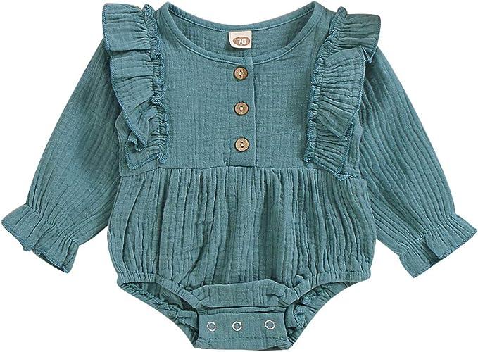T TALENTBABY Neugeborenen Kleinkind Kinder Baby M/ädchen 2 ST/ÜCKE Kleidung Outfits R/üschen Trompete Strickhemd Cowboy Ausgestelltes Hosenoverall Outfit Set