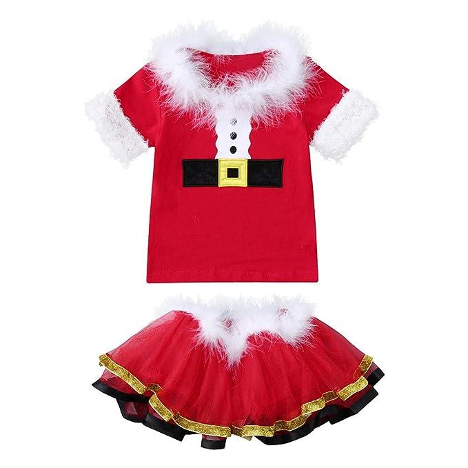DAYLIN Bebés Niña Infantil Chicas Manga Corta Camiseta Tops Faldas de Tutú  Navidad Cosplay Ropa 3cf866f112e9