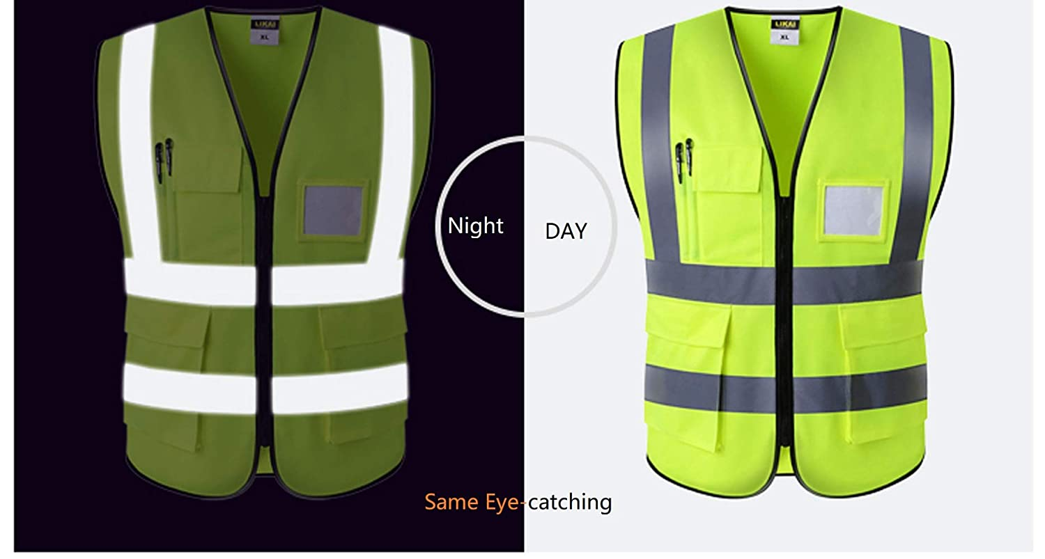 High Visibility Medium, yellow Bright Neon Color Construction Protector with Reflective Strips with Five Pockets Gayisic Reflective Safety Vest