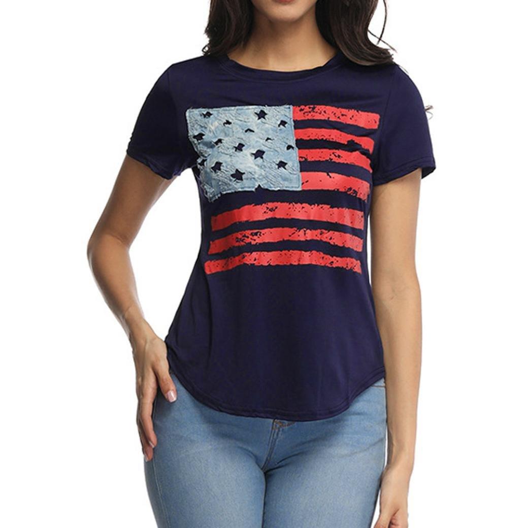 Jentouzz Fashion Women Casual Flag Printed Top Blouse Short Sleeve O Neck T-Shirt (L, Navy)