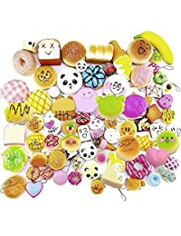 Mini Soft Squishy Foods Panda Bread Cake Buns Toasts Donuts keychain pendant Cell Phone Chain Strap (pack of 30)