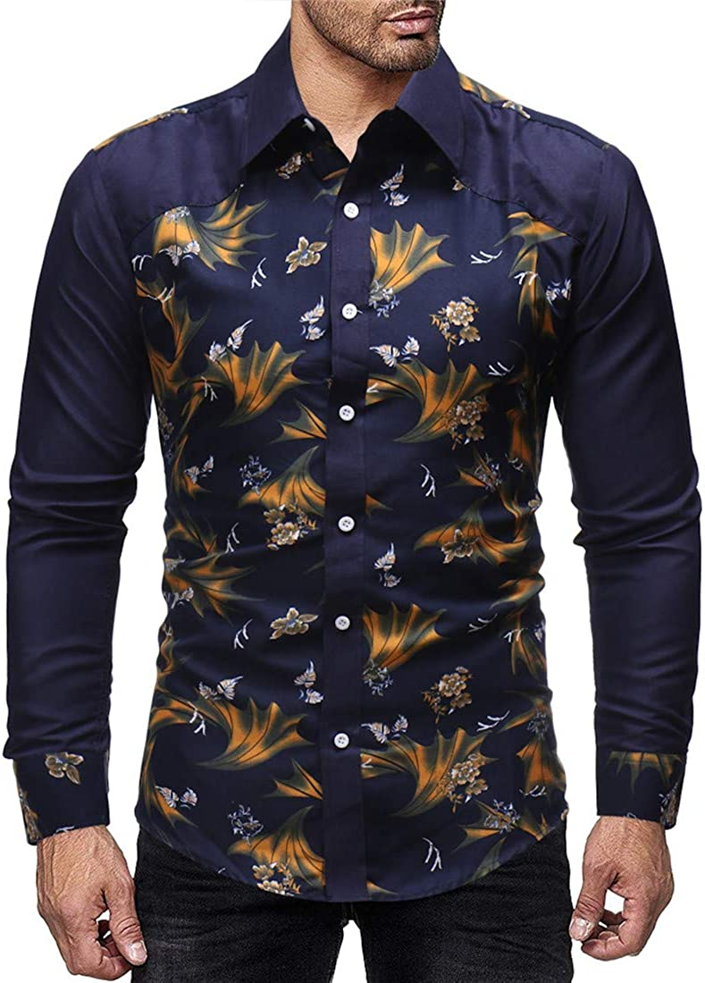Nanquan Men Dress Shirt Floral Print Long Sleeve Button Down Shirt Tops