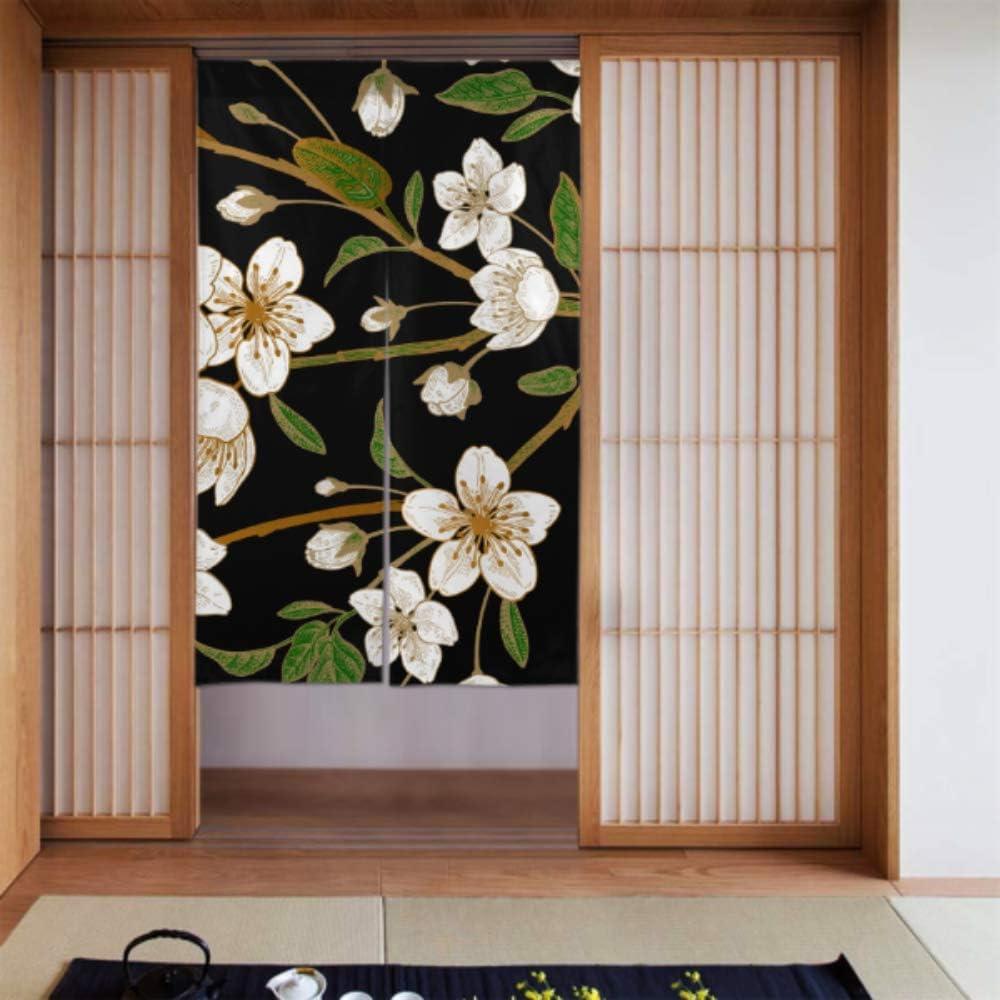 Generies - Cortina para puerta de ducha, diseño de flores, color negro oscuro, 86 x 143 cm: Amazon.es: Hogar