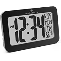 Marathon Atomic Self-Setting Self-Adjusting Wall Clock w/Stand & 8 timezones - Batteries Included