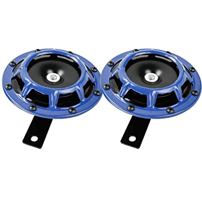 Novelbee 12V 110db Electric Super Horn with Bracket,High Tone and Low Tone Metal Twin Horn Kit for Boat,Car,Truck,Motorcycle (Blue): Automotive