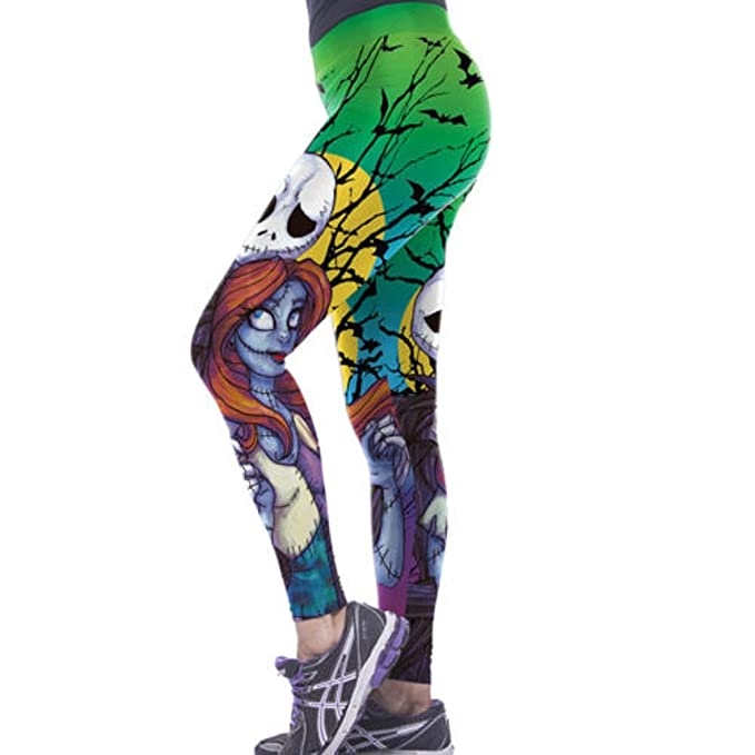 49a67c061bce0 Image Unavailable. Image not available for. Color: Nightmare Before  Christmas Jack & Sally One Size Fits Most Novelty Leggings