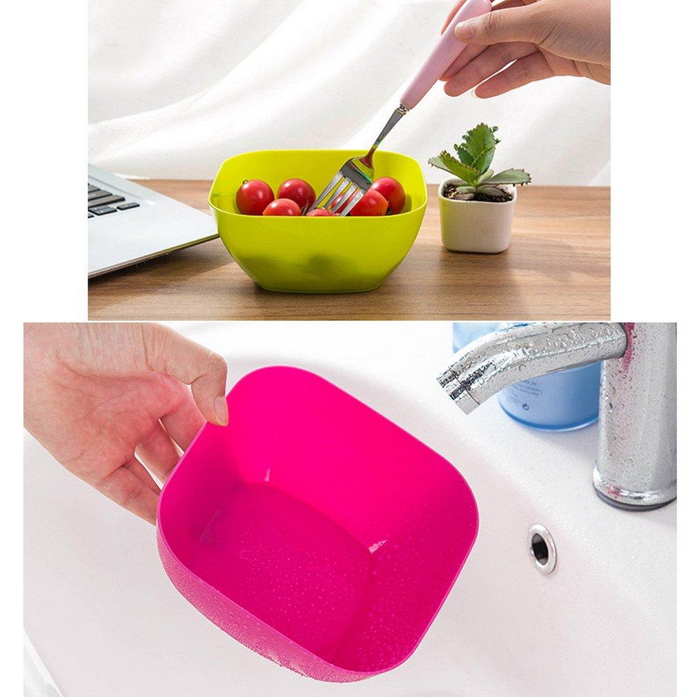 Y-BOA Bol Panier Assiette Salade Fruits L/égumes Panier Cuisine Plastique Corbeille Plat Carr/é Grande Capacit/é Vert
