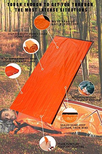 Shayson Saco de Emergencia Dormir,Aislamiento Térmico, Exterior Brillante Naranja Fácil de Localizar Portátil,para… 1