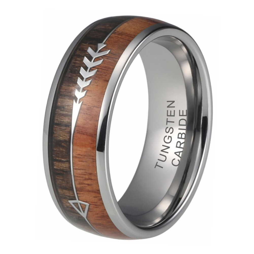 iTungsten 8mm Tungsten Carbide Rings for Men Women Wedding Bands Koa Wood Arrow Inlay Hunting Outdoor Jewelry