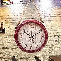 Mute American Retro Clocks Wall Clock Drawing-Room Table European Rural Industrial Wind The Clock Bar Café Lanyard Clock,14 Inch,( H )