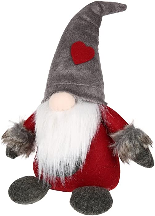 Adarl Handmade Swedish Tomte,Denmark Norway Nisse,Christmas Figurines Santa Gnome Plush Doll Present for Holiday Xmas Decorations,Grey C