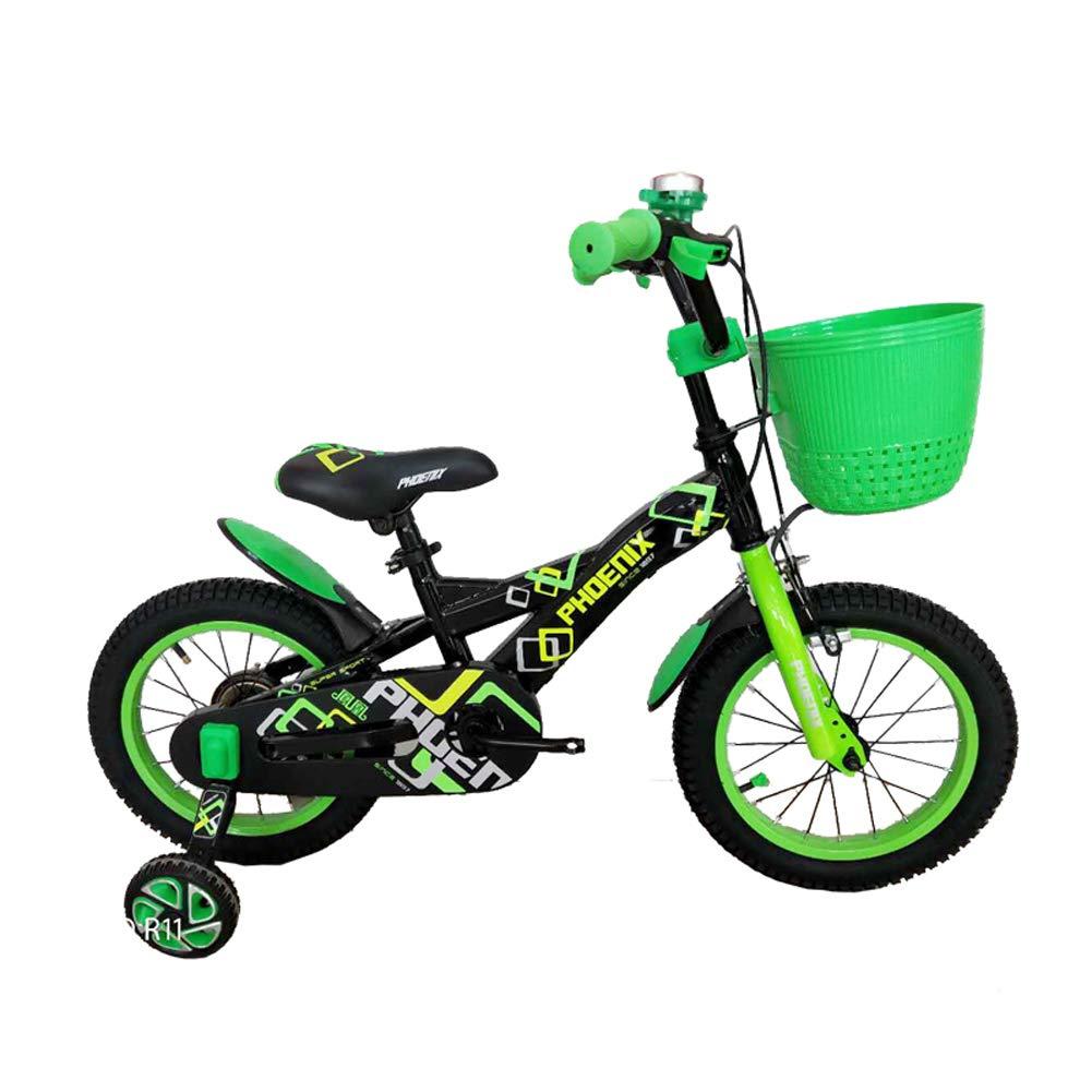 Lll- 子供の自転車2-4-6歳12/14インチの赤ちゃんの自転車少年の自転車の少年のベビーカーの子供たち緑のマウンテンバイク (サイズ さいず : 14
