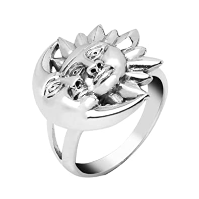 925 Sterling Silver Crescent Moon and Sun Celestial Lunar Face Yin Yang  Band Ring 6, 7, 8