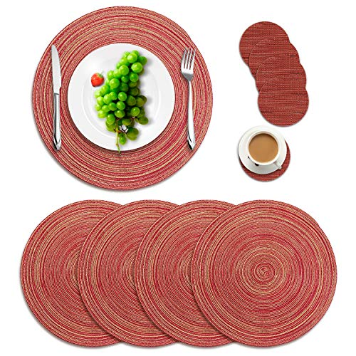 (Manzelun Round Placemats Set of 4,Woven Heat Resistant Table Mats with 4 Coasters for Dining Table(13.8