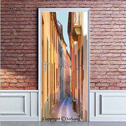 (Italy Door Wall Mural Wallpaper Stickers,Narrow Paves Street Among Old Houses in Town Serralunga DAlba Piedmont Decorative,Vinyl Removable 3D Decals 35.4x78.7/2 Pieces set,for Home Decor Pale Orange B )