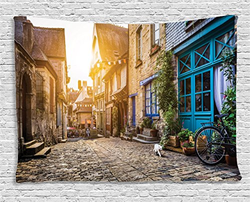 - Ambesonne Wanderlust Decor Collection, Old Town in Europe at Sunset Retro Vintage Coffee Shop Blossoms Cat Alleyway, Bedroom Living Room Dorm Wall Hanging Tapestry, 60W X 40L Inch