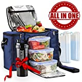 Image of Meal Prep Lunch Bag / Insulated Lunch Box For Men & Women + 3 Large Leak-proof Food Containers (45 Oz.) + 2 Large Reusable Ice Packs + Bonus Shaker With Storage. Adult Portion Control Kit, Navy Blue