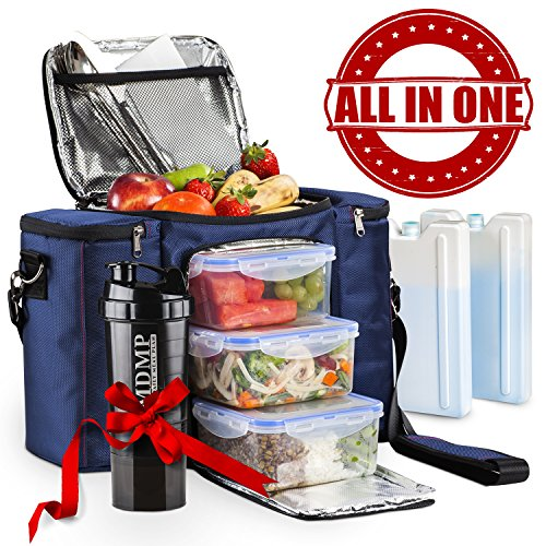 Meal Prep Lunch Bag / Insulated Lunch Box For Men & Women + 3 Large Leak-proof Food Containers (45 Oz.) + 2 Large Reusable Ice Packs + Bonus Shaker With - Outside Workout For Ideas