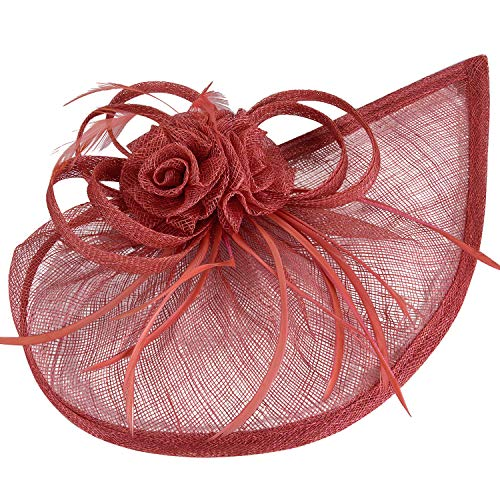 - VIJIV Women's Vintage Derby Fascinator Hat Pillbox Headband Feather Cocktail Tea Party Watermelon Red