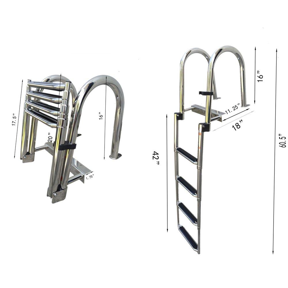 Hoffen Stainless Steel in-Board Swim Fiberglass Platform 4-Steps Ladder Welded Reinforce Folding Docking Ladder