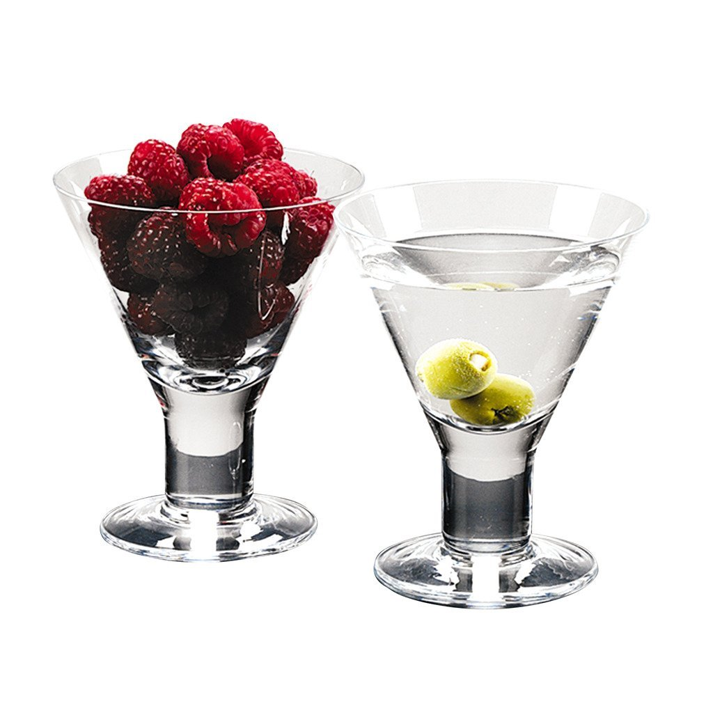 Caprice - Set of 4 Mouth blown Lead Free Crystal Martini or Dessert Servers - 6 Oz H4.5''