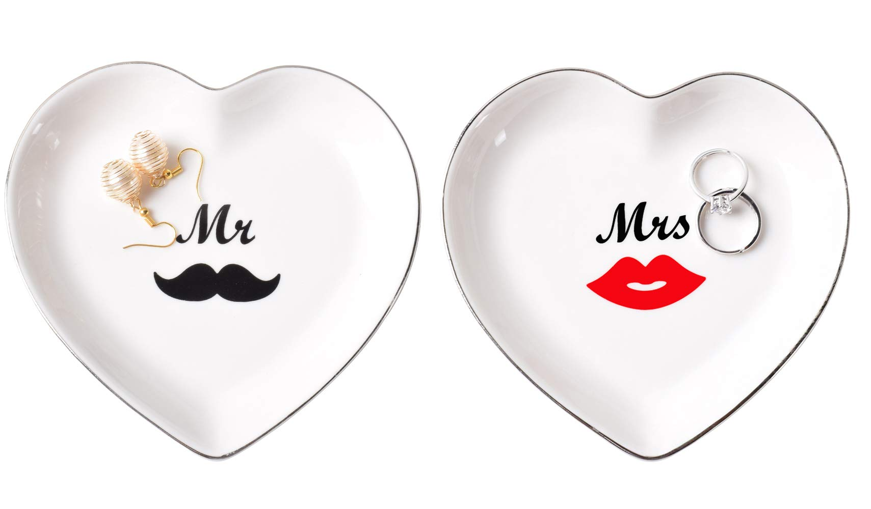 PUDDING CABIN Mr & Mrs Heart Ring Dish Jewelry Holder for Engagement Wedding Gift