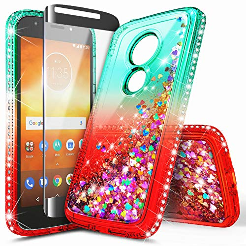 Moto E5 Plus Case, Moto E5 Supra/Motorola Moto E Plus 5th Gen Case w/[Full Cover Tempered Glass Screen Protector], NageBee Glitter Liquid Quicksand Flowing Sparkle Diamond Girls Cute Case -Teal/Red