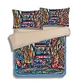 FAITOVE Graffiti Microfiber 3pc 104''x90'' Bedding Quilt Duvet Cover Sets 2 Pillow Cases King Size