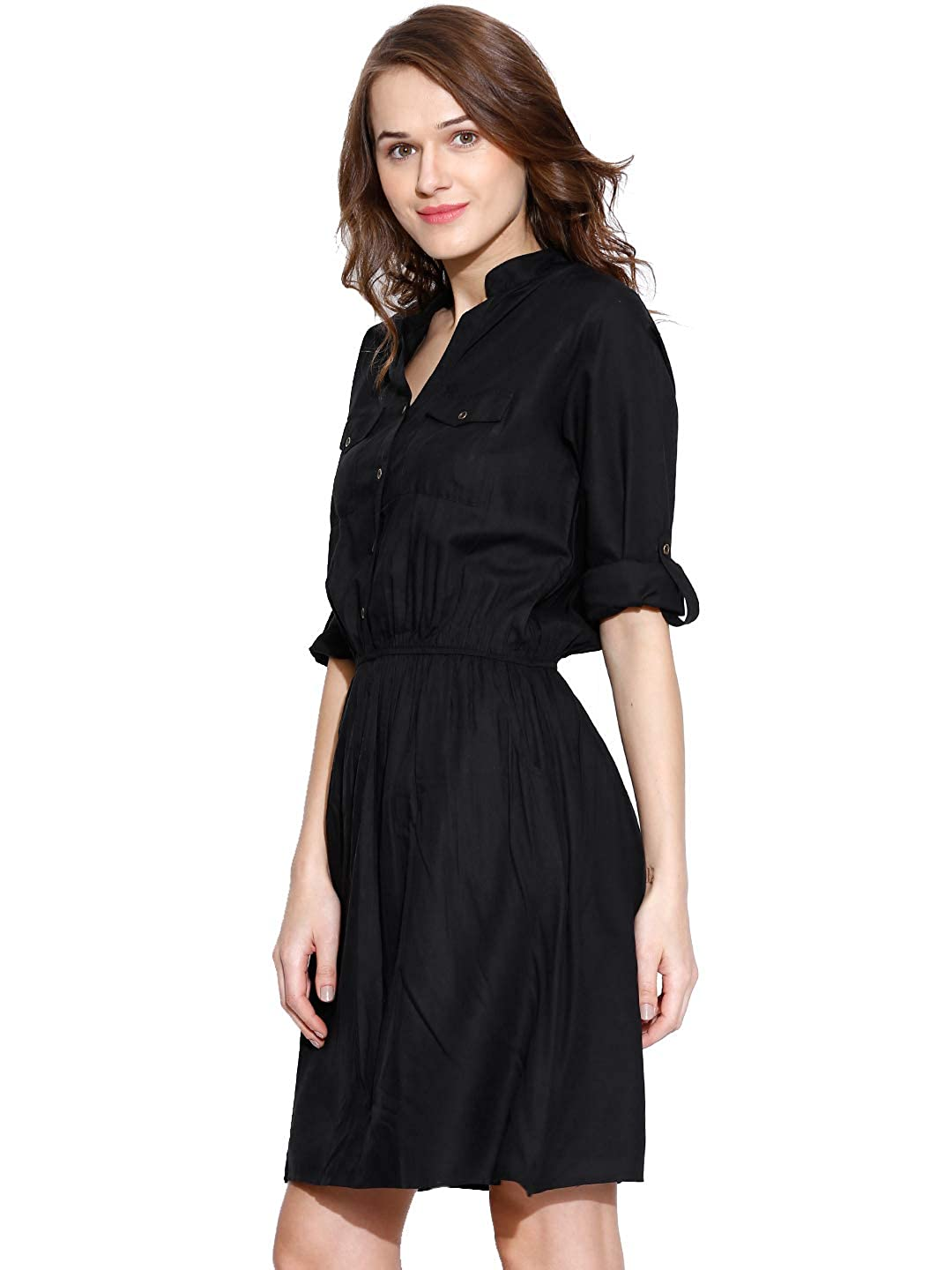 c7fcfeaf12 Amayra Women s Rayon A-Line Dress(Black)  Amazon.in  Clothing   Accessories