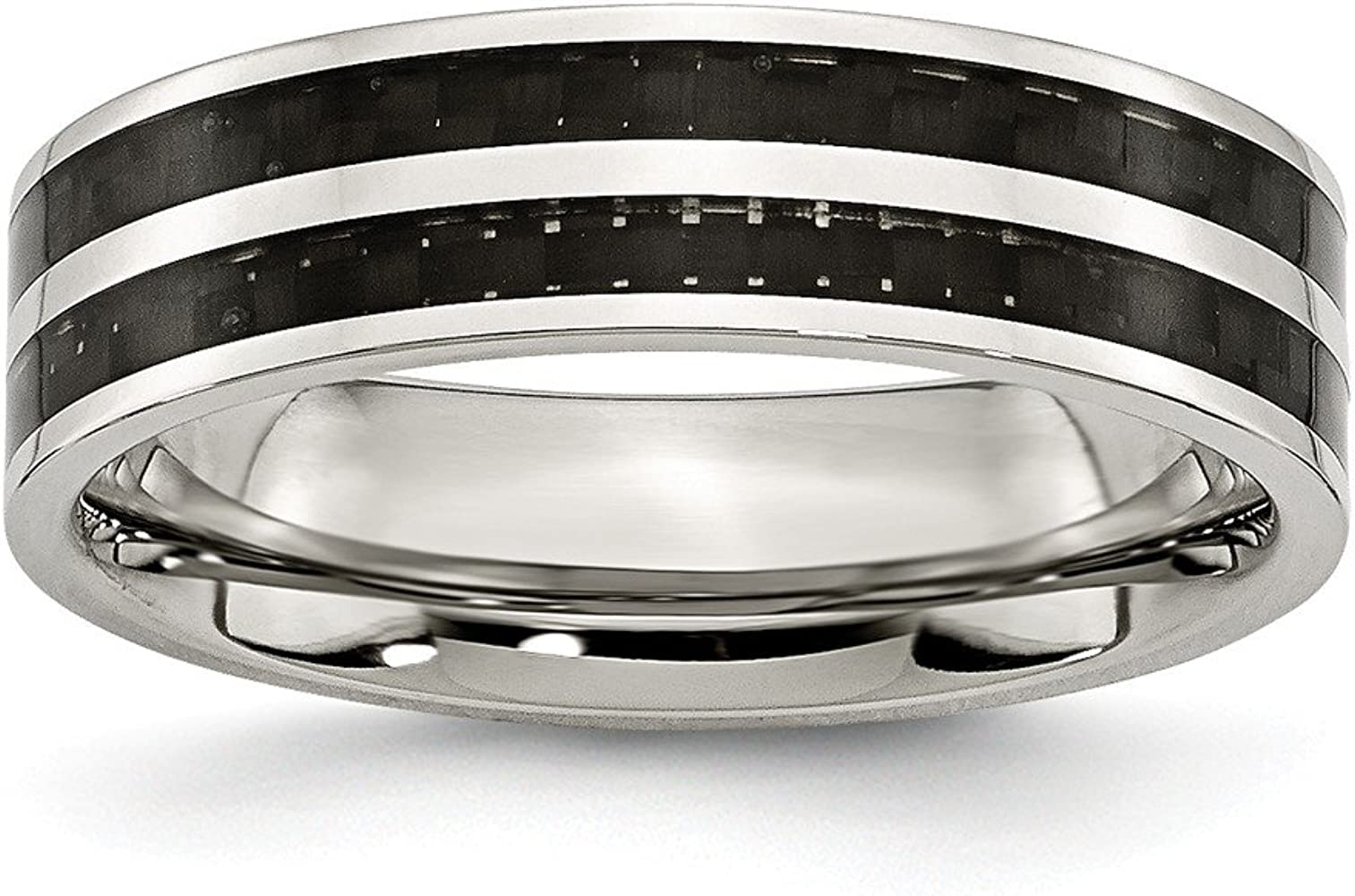 Stainless Steel 6mm Double Row Black Carbon Fiber Inlay Polished Band Size 6.5 Length Width 6
