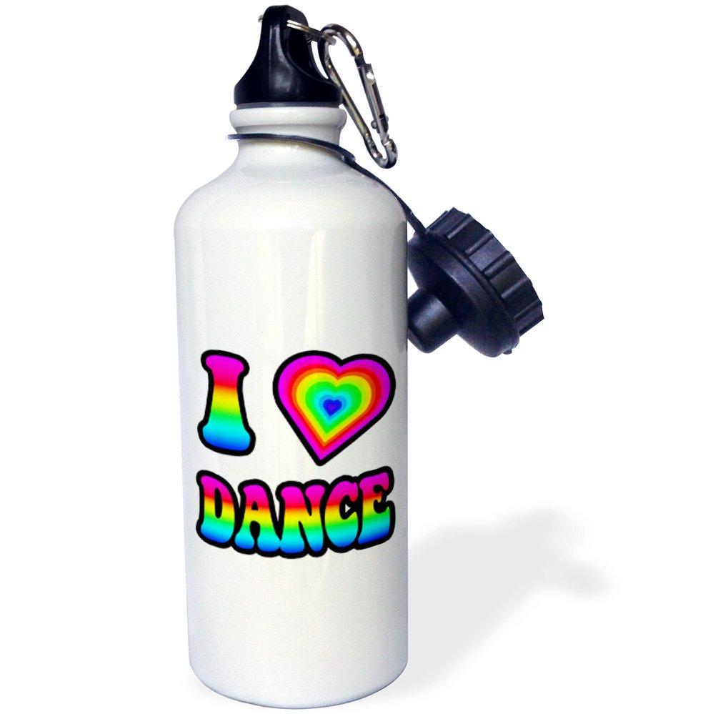 3dRose wb_217401_1 Groovy Hippie Rainbow I Heart Love Dance Sports Water Bottle, 21Oz, Multicolored