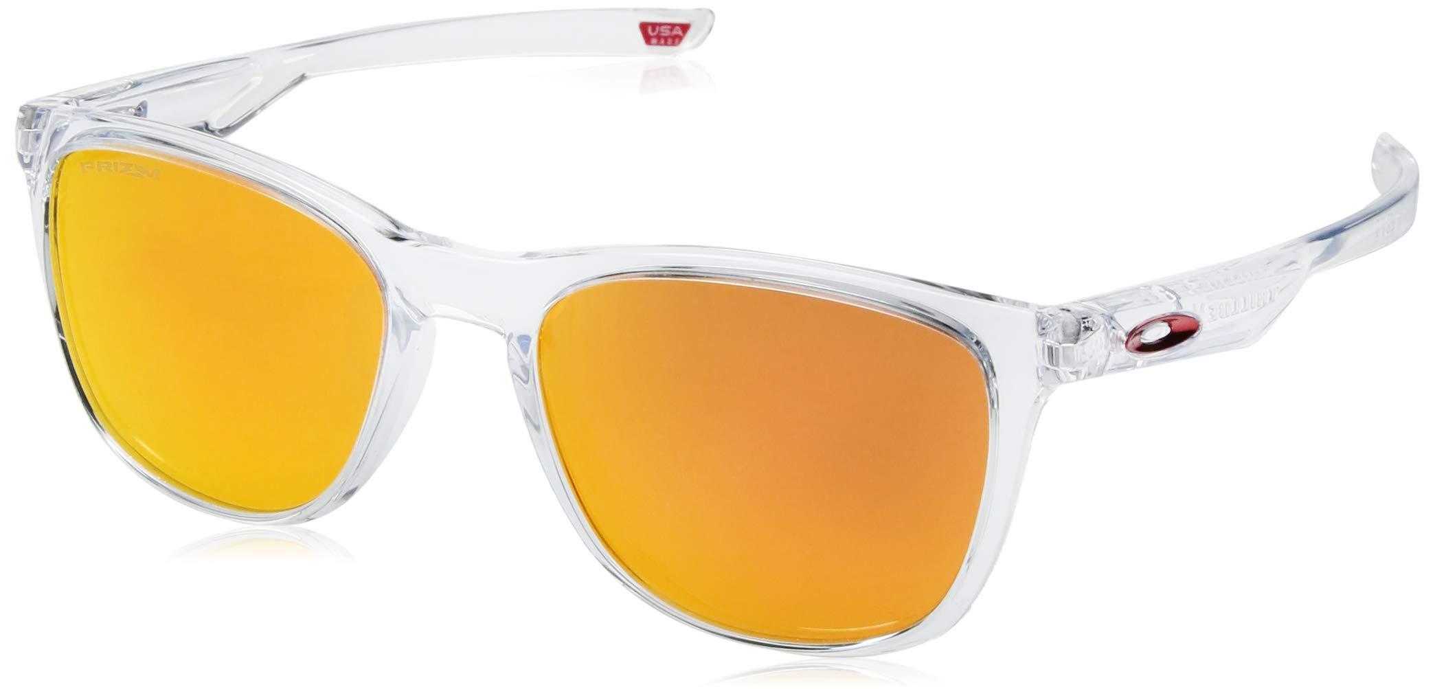 Oakley Men's Trillbe X Iridium Rectangular Sunglasses Polished Clear 52.0 mm