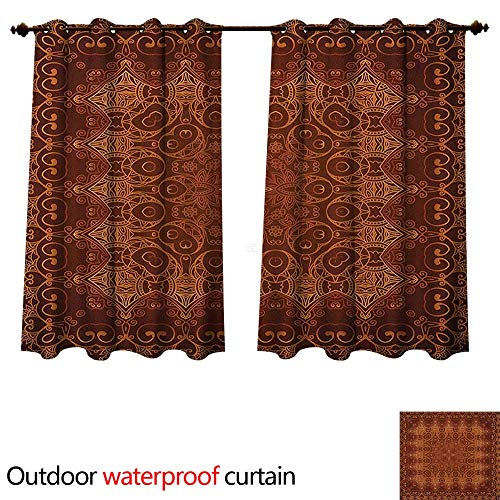 Anshesix Antique Outdoor Curtains for Patio Sheer Vintage Lacy Persian Arabic Pattern from Ottoman Empire Palace Carpet Style Art W72 x L72(183cm x 183cm)