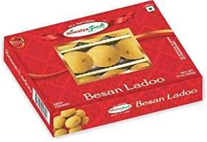 HIMALYA FRESH Besan Ladoo 12oz - Premium Authentic, Luxurious Indian Food & Sweets Made With pure simple ingredients Gram flour, Sugar, Cardamom & Vegetable Oil - No Fillers Or Preservatives (1 Box)