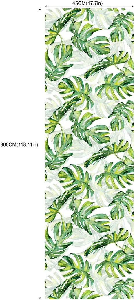 Self Adhesive Vinyl Tropical Green Palm Shelf Liner Contact Paper Dresser Drawer Cabinets Liner Furniture Paper Wall Sticker Peel and Stick Tropical Wallpaper 17.7x117 Inches
