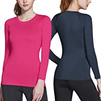 ATHLIO 2 Pack Women's Sports Compression Shirt, Cool Dry Fit Long Sleeve Workout Tops, Athletic Exercise Gym Yoga Shirts