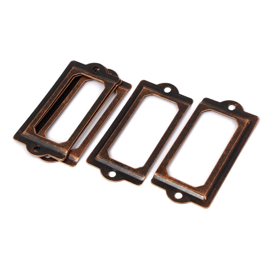 sourcingmap File Cabinet Chest 70x33mm Tag Label Holders Frame Copper Tone 5pcs a16032900ux1216